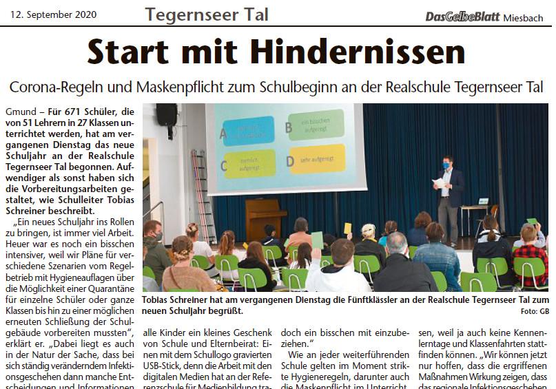Zeitungsbericht zum Schulbeginn